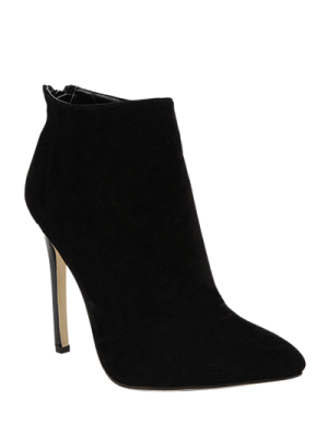 Pointed Tie Flock Zipper Ankle Boots - Black 38