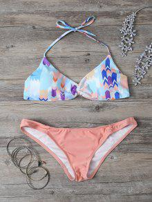 Cute Printed Halter Bikini Set - Orange L