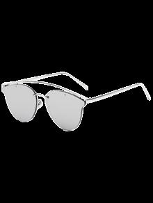 Buy Crossbar Mirrored Butterfly Sunglasses - SILVER