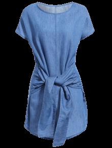 Solid Color Tied Round Neck Bat-Wing Sleeve Denim Dress - Deep Blue M