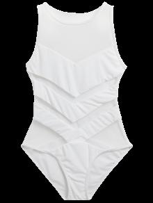 3147bcba0446a 19% OFF  2019 Sheer Mesh Panel One Piece Swimwear In WHITE 2XL