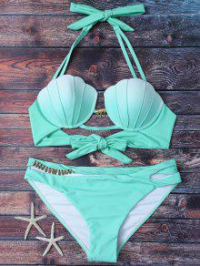 Mermaid Shell Halter Bikini - Green M