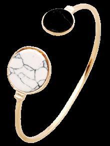 Stone Round Cuff Bracelet - Golden