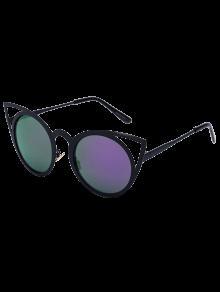 أسود الساحرة عين القط مرآة النظارات الشمسية - أرجواني