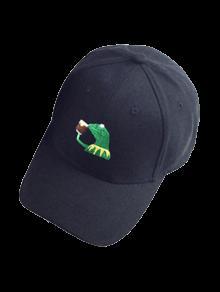 Cartoon Frog Embroidery Baseball Hat - Black