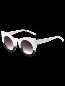 Farbblock-Katzenaugen-Sonnenbrille - Weiß & Schwarz
