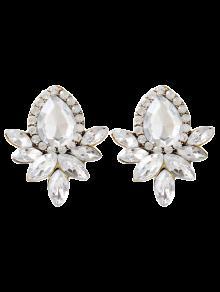 Boucles D'oreilles En Cristal Artificiel Embelli Goutte D'eau De Bijoux Faux - Blanc