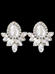 Water Drop Rhinestone Artificial Crystal Earrings - White