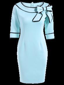 Cuello De La Raya Vertical Del Bowknot Vestido Lápiz - Azul Claro S