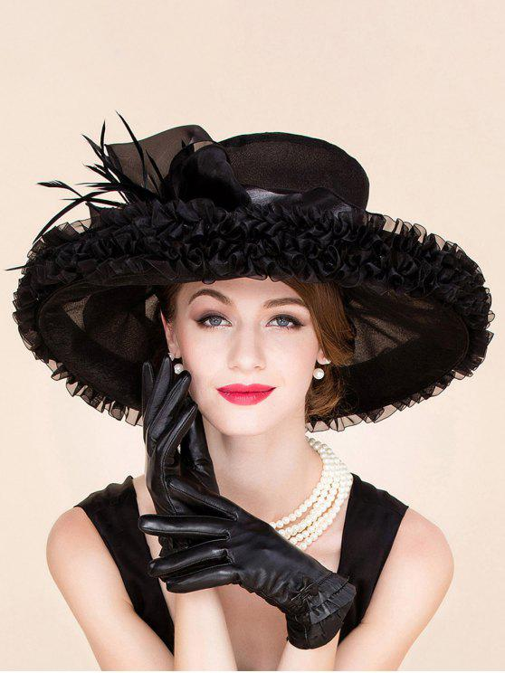 9af870aaff6d4 shop Stylish Feather Ruffle Edge Design Wedding Banquet Party Black Church  Hat - BLACK