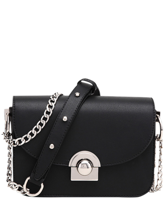 women Chain Metal Ring Solid Color Crossbody Bag - BLACK
