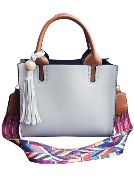 affordable Tassels Color Block Bead Tote Bag - LIGHT GRAY