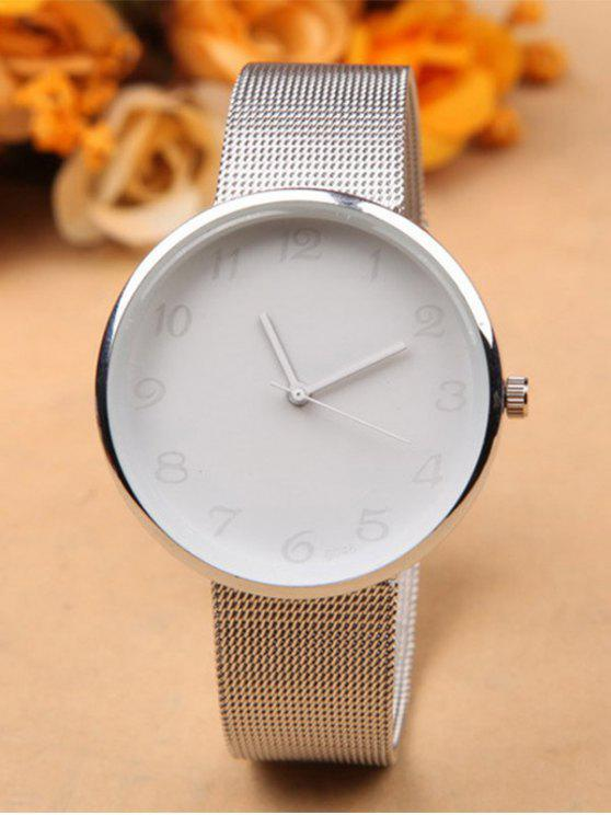 new Alloy Circle Dial Plate Quartz Watch - WHITE