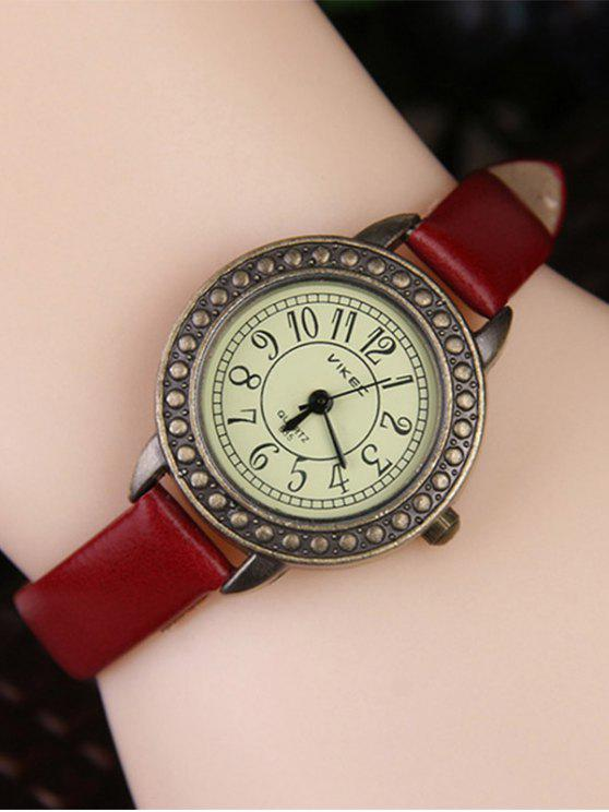new Faux Leather Alloy Watch - DARK RED