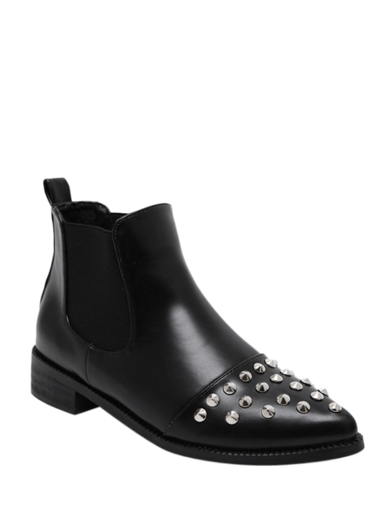 shop Pointed Toe Rivets Elastic Band Ankle Boots - BLACK 38