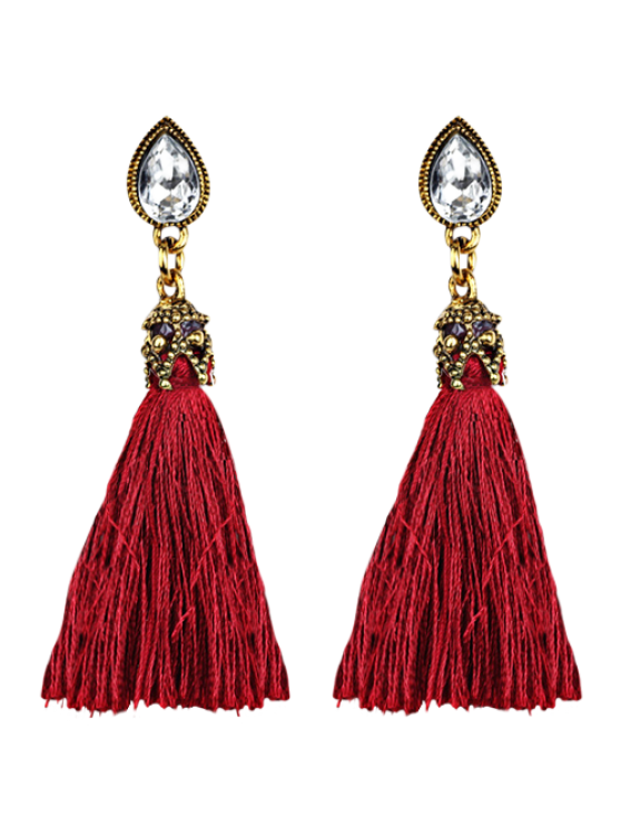 shops Rhinestone Tassel Water Drop Earrings - RED