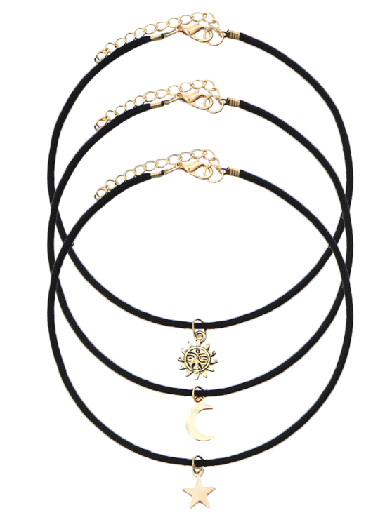 hot Sun Moon Star Chokers - BLACK