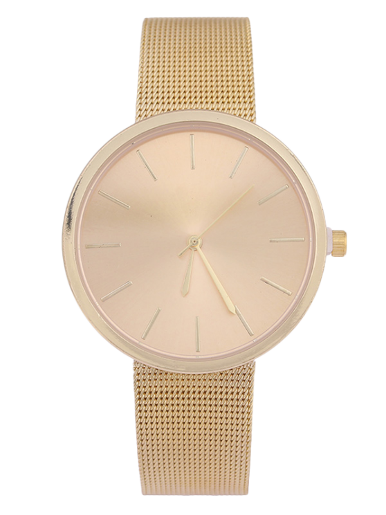 Simple Steel Mesh Band Quartz Watch - Dourado