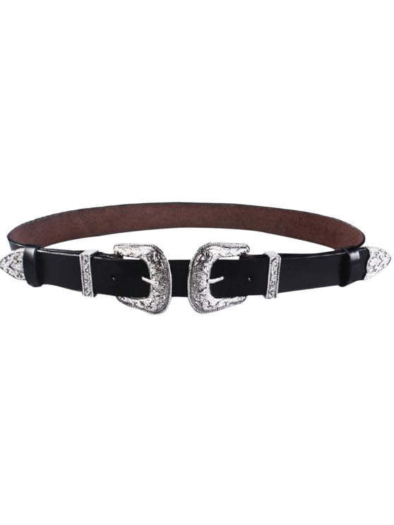 shops Cameo Double Buckle Faux Leather Belt - BLACK
