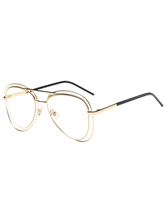 unique Double Rims Transparent Lens Pilot Sunglasses - GOLDEN