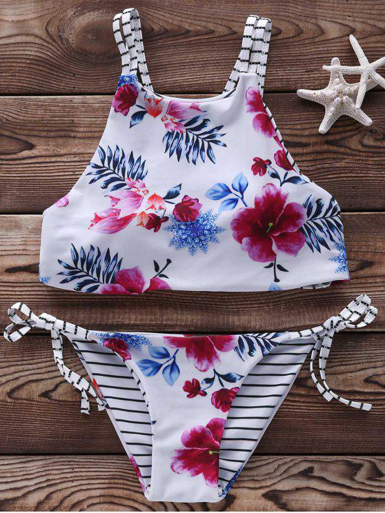 Floral Halter String Bikini Cute Bathing Suit - White S