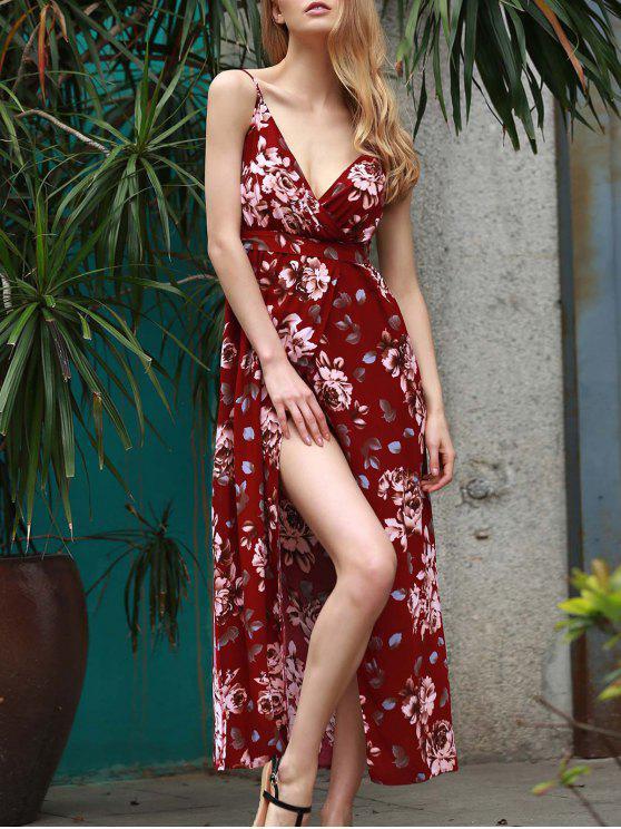 online Floral Spaghetti Straps Slit Maxi Dress - WINE RED S