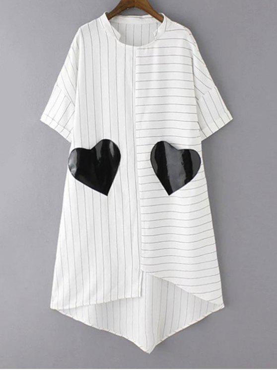 Gestreiftes Taschen Patchwork unregelmäßiger Saum Kleid - Weiß S