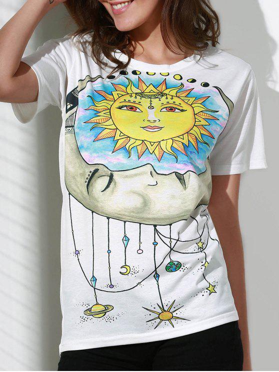 Sun Imprimir cuello redondo manga corta de la camiseta - Blanco 2XL