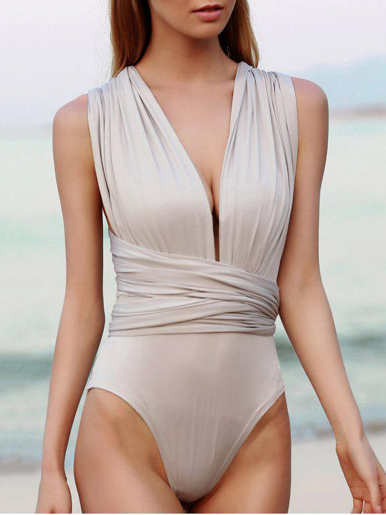 fashion Convertible Solid Color Backless Bodysuit - LIGHT GRAY S