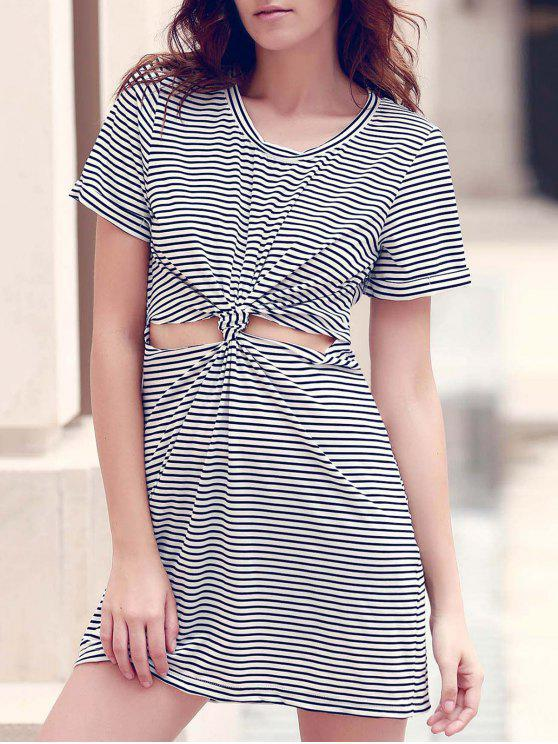 lady Striped Round Collar Short Sleeve Knotted Cut Out Dress - WHITE AND BLACK M