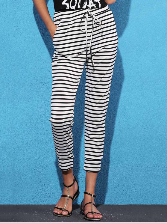 trendy Belted Striped High Waist Harem Pant - WHITE L