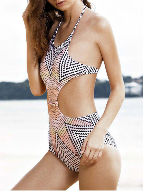 new High-Neck One-Piece Striped Swimwear - WHITE S