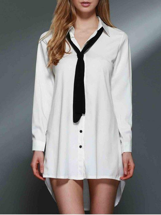 Bowknot embelezado vestido de camisa - Branco L