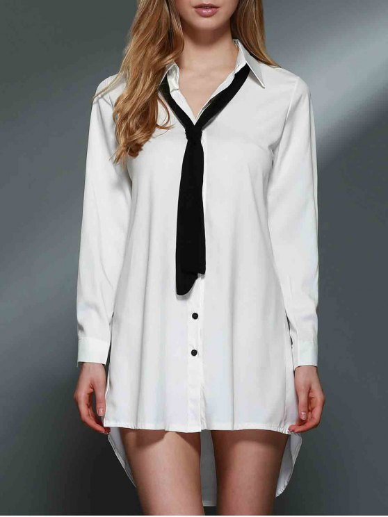 buy Bowknot Embellished Tunic Shirt Dress - WHITE S