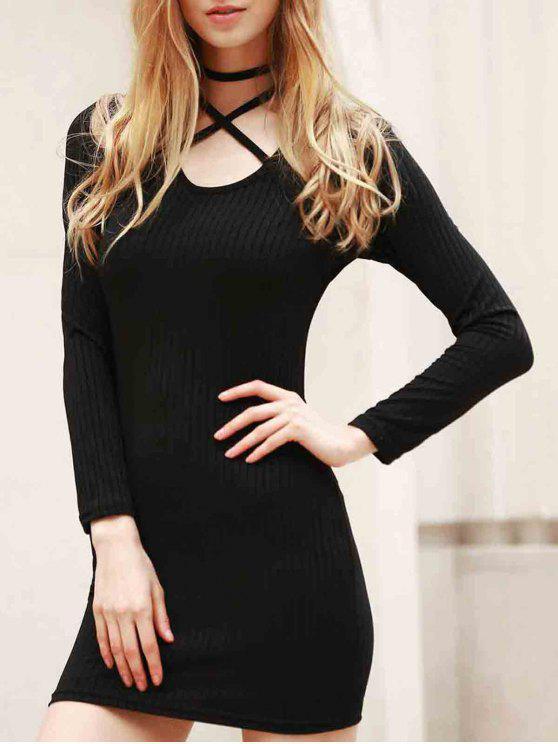 Schwarzes Bodycon Kleid mit Langarm - Schwarz 2XL