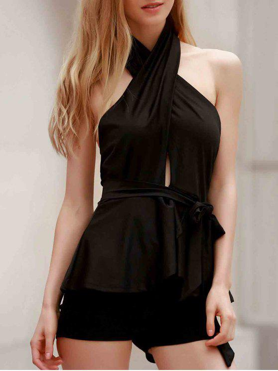 buy Halter Open Back Peplum Top - BLACK S