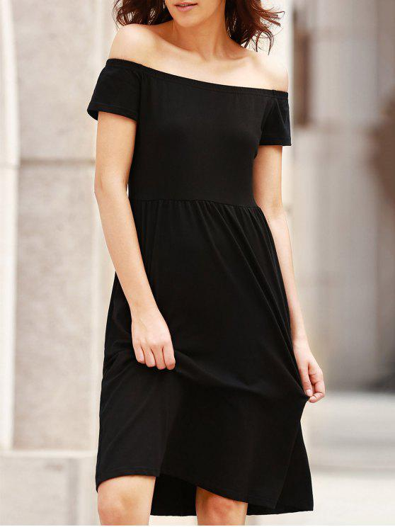 outfit Solid Color Off The Shoulder Short Sleeve Dress - BLACK S