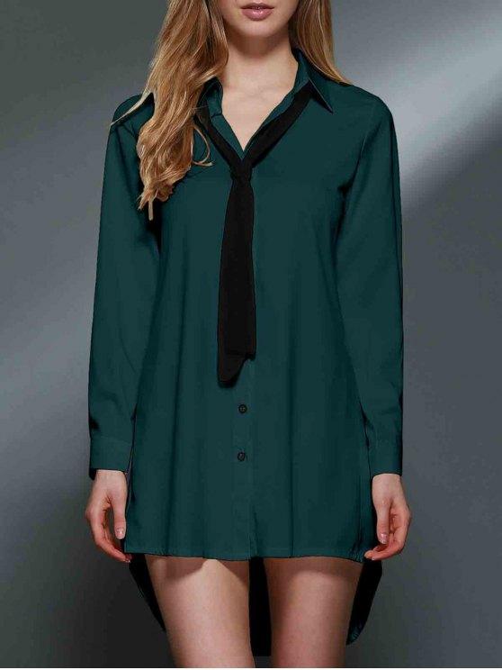 women Bowknot Embellished Tunic Shirt Dress - GREEN XL