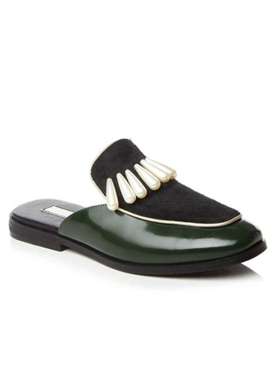 latest Splicing Beading Lace-Up Flat Shoes - GREEN 38