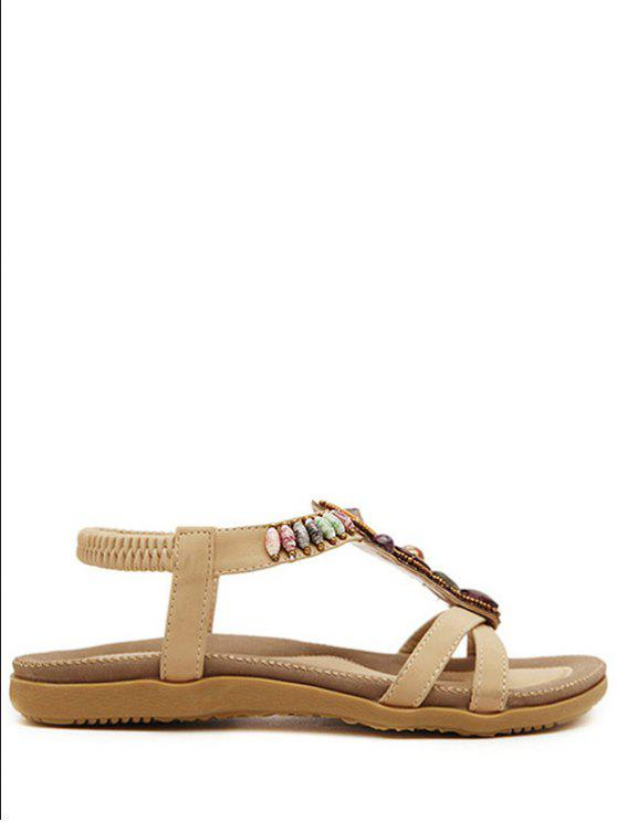 shops Faux Gem Elastic Flat Heel Sandals - APRICOT 35