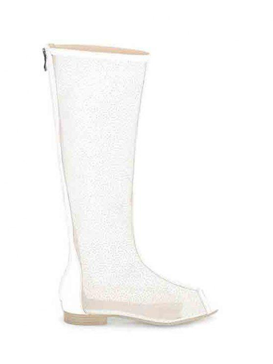 trendy Flat Heel Splicing Gauze Peep Toe Shoes - WHITE 37
