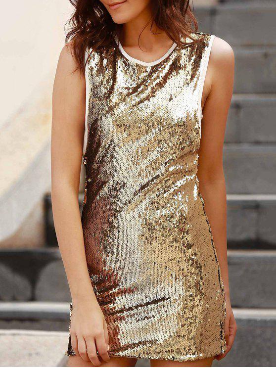 women Sequins Round Collar Sleeveless Bodycon Dress - GOLDEN 2XL