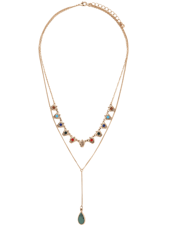 affordable Fake Gem Layered Necklace - GOLDEN