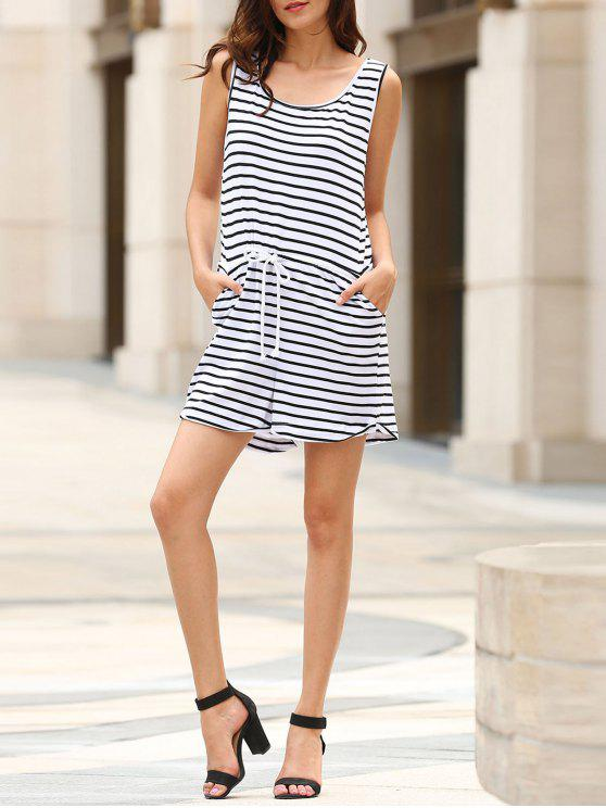 women Belted Striped Scoop Neck Sleeveless Playsuit - WHITE S