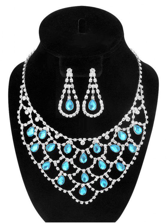 الجوف خارج الدمعة حجر الراين والمجوهرات مجموعة - أزرق