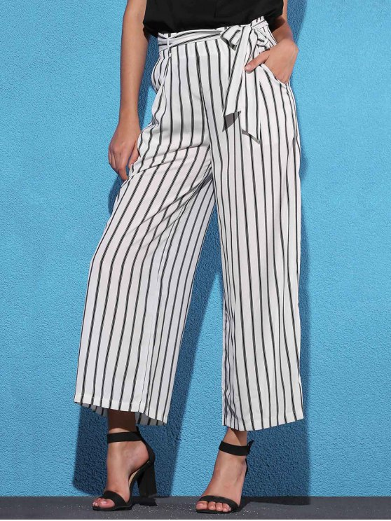 Pantalones de Rayas con Lazo Lateral con Pierna Ancha - Blanco M