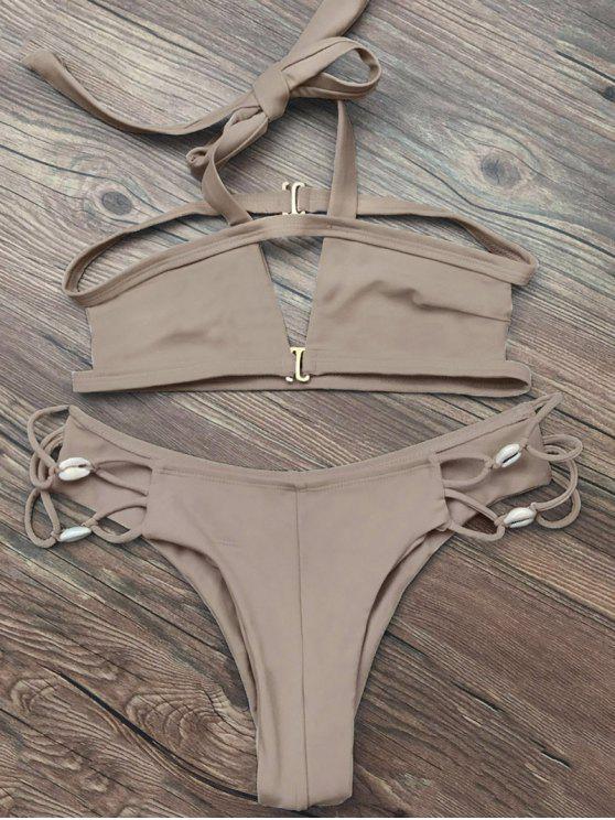 womens Strappy Cut Out Halter Bikini - APRICOT M