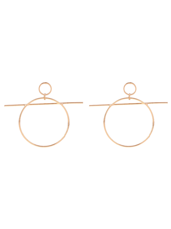 Circle Bar Drop Earrings - Golden