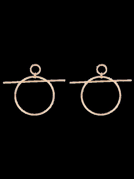 Boucles d'oreilles pendentif cercle avec barre - Or