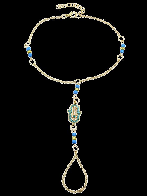 shops Hand Faux Gem Beads Anklet - BLUE